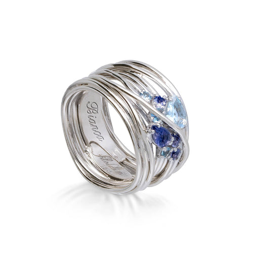 18kt White Gold Aquamarina Iolite Ring ,[product vendor],JewelStreet