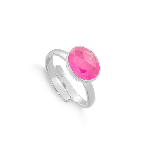 Atomic Midi Pale Ruby Quartz Sterling Silver Adjustable Ring