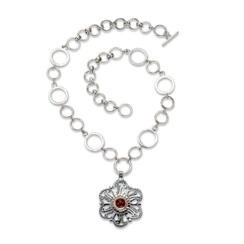 Sterling Silver African Flower Necklace ,[product vendor],JewelStreet