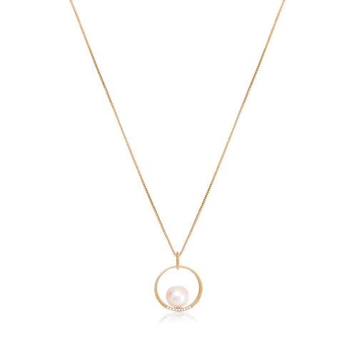 Akoya Pearl Yellow Gold Pendant With Diamonds ,[product vendor],JewelStreet