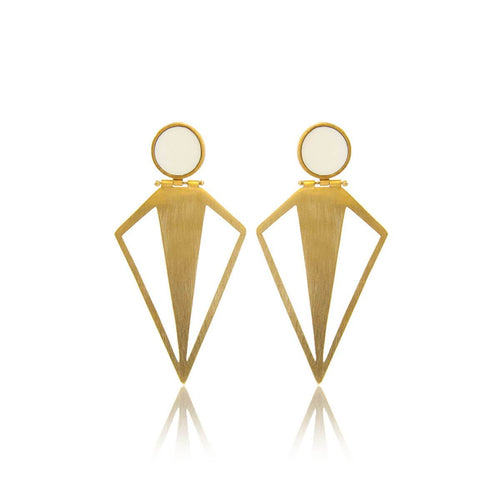 Plated Sterling Silver Amazon Earrings With Enamel