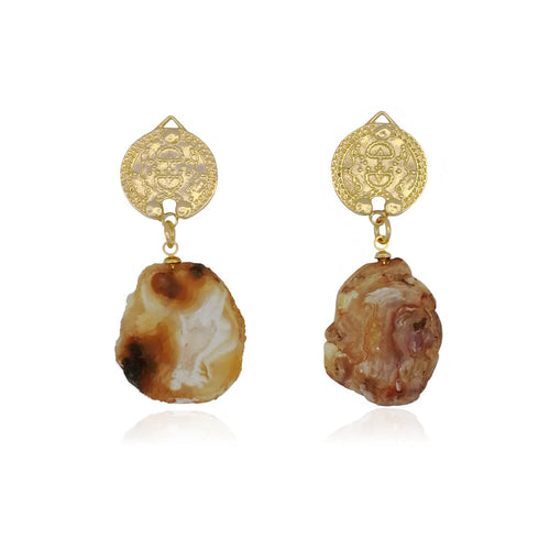 14kt Gold Plated Lokel Earrings in Amber Tones ,[product vendor],JewelStreet