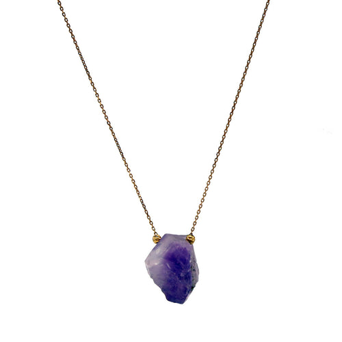 18kt Rose Gold Amethyst Druzy Necklace ,[product vendor],JewelStreet