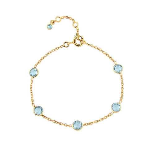 Yellow Gold Plated Antibes Blue Topaz Bracelet