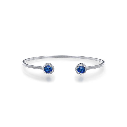 Birthstone Halo Open Cuff Bangle Bracelet-Lafonn-JewelStreet US
