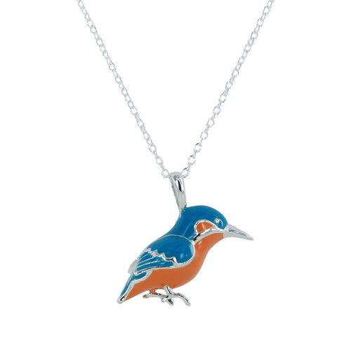 Sterling Silver & Enamel Kingfisher Necklace ,[product vendor],JewelStreet