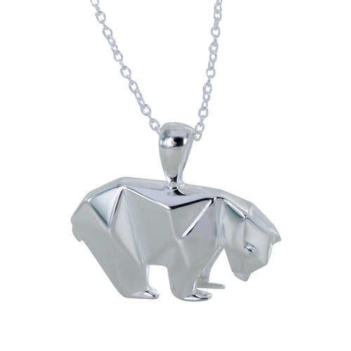 Sterling Silver Origami Polar Bear Necklace ,[product vendor],JewelStreet