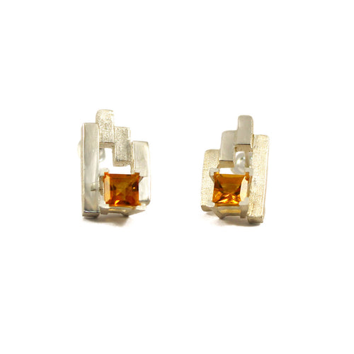 Silver SEVEN Stud Earrings With Citrine ,[product vendor],JewelStreet