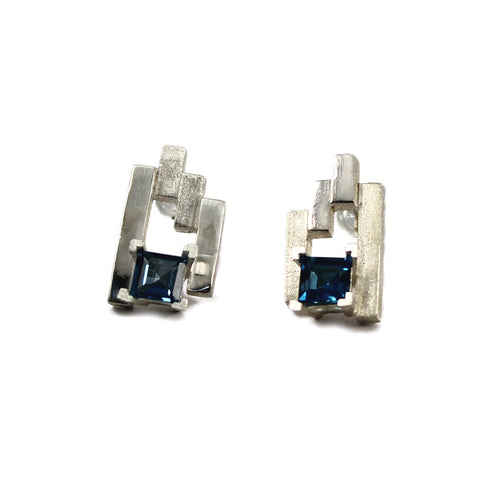 Silver SEVEN Stud Earrings With London Blue Topaz ,[product vendor],JewelStreet