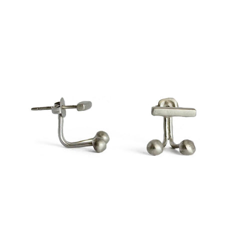 Silver TWELVE Front Back Stud Earrings ,[product vendor],JewelStreet
