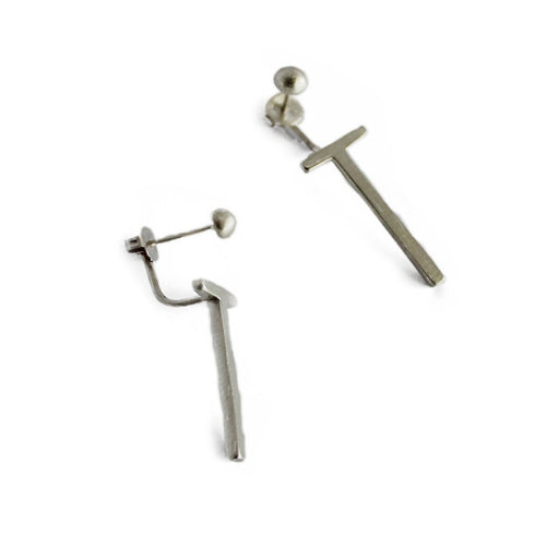 Silver TWELVE Front Back Long Earrings ,[product vendor],JewelStreet