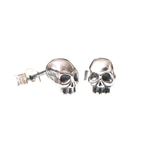 Oxidised Sterling Silver Black Skull Earrings ,[product vendor],JewelStreet