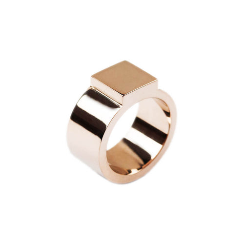 14kt Rose Gold Block Ring ,[product vendor],JewelStreet