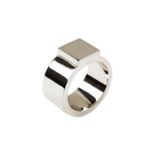 14kt White Gold Block Ring ,[product vendor],JewelStreet