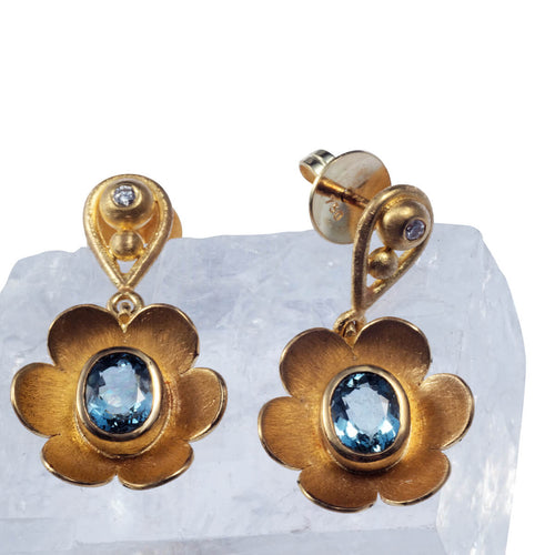 Yellow Gold Blue Anemone Chandelier Earrings ,[product vendor],JewelStreet