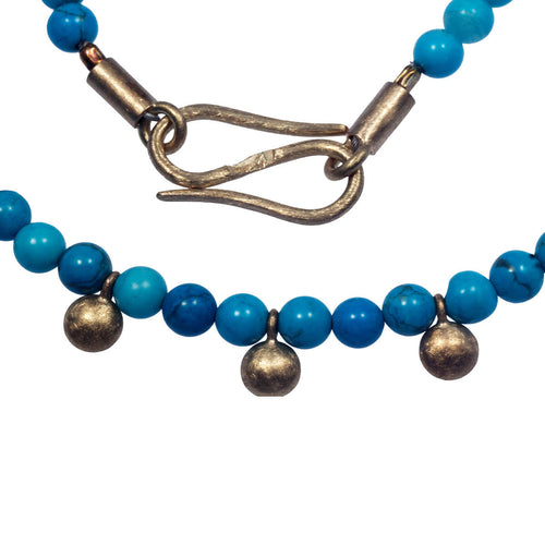Yellow Gold Blue Dots Necklace ,[product vendor],JewelStreet