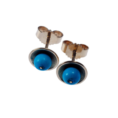 Yellow Gold Blue Dot Stud Earrings ,[product vendor],JewelStreet