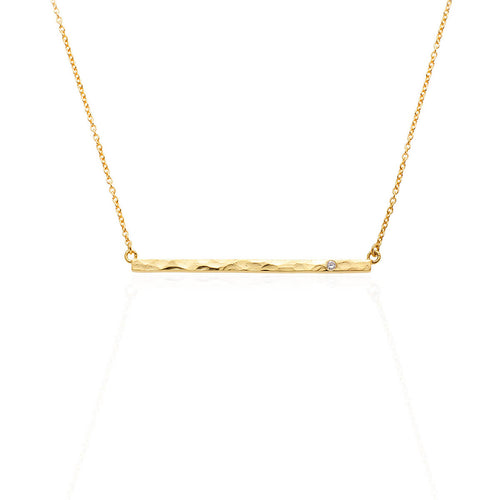 Boho Diamond Bar Gold Necklace