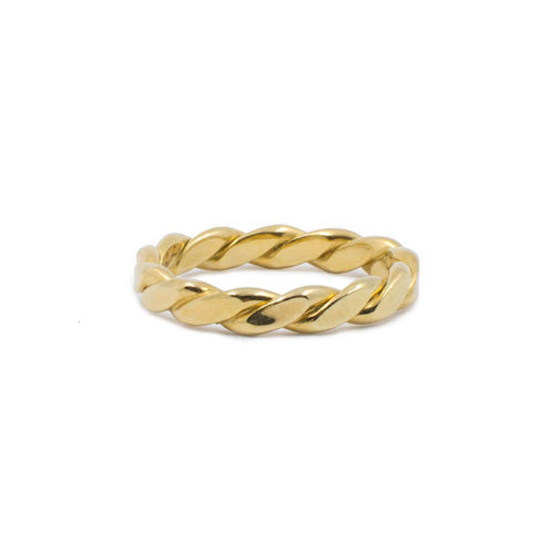 Yellow Gold Plated Wide Braided Ring
