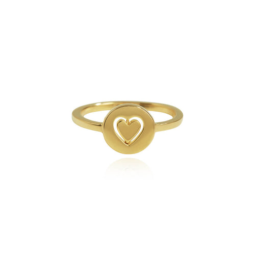 Yellow Gold Plated Personalised Total Eclipse Heart Spinner Ring ,[product vendor],JewelStreet