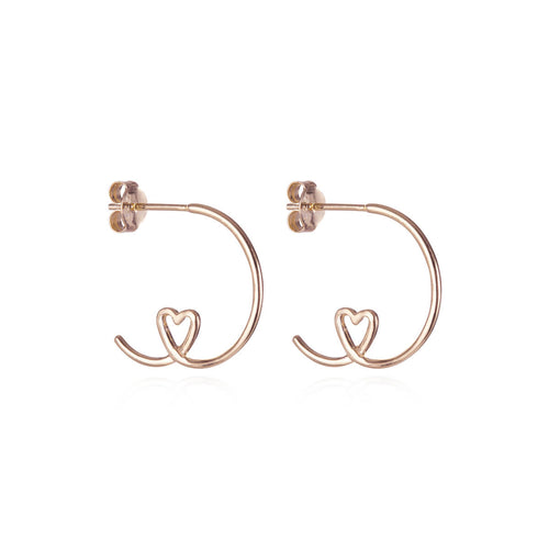 Rose Gold Plated Shape Of My Heart Hoop Earrings ,[product vendor],JewelStreet