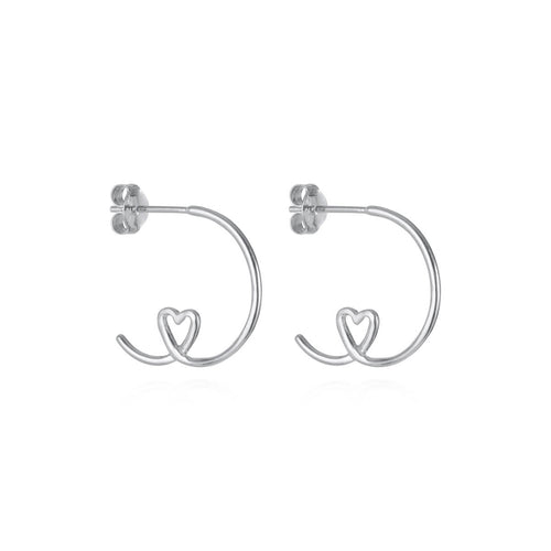 Sterling Silver Shape Of My Heart Hoop Earrings ,[product vendor],JewelStreet