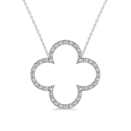 White Gold & Diamond Clover Pendant Necklace | Allurez