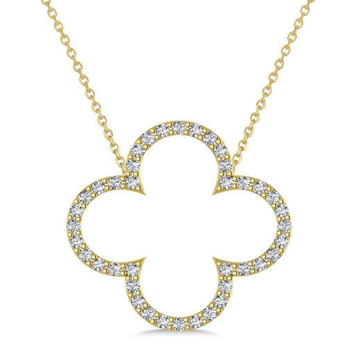 Yellow Gold & Diamond Clover Pendant Necklace | Allurez