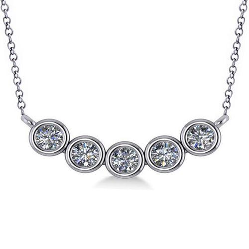 White Gold Five-Diamond Pendant Necklace | Allurez