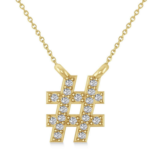 Yellow Gold & Diamond Hashtag Fashion Pendant Necklace | Allurez
