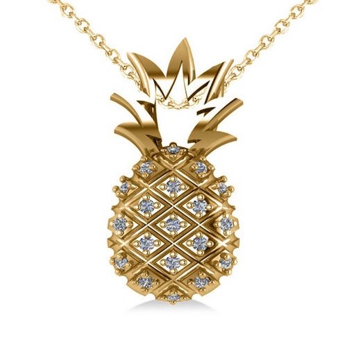 Yellow Gold & Diamond Pineapple Fashion Pendant Necklace | Allurez