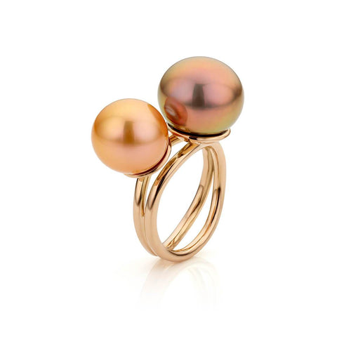 18kt Rose Gold Coup De Coeur Ring With Edison Pearls