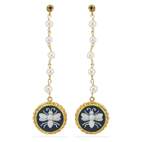 Bee Cameo & Pearls Earrings ,[product vendor],JewelStreet