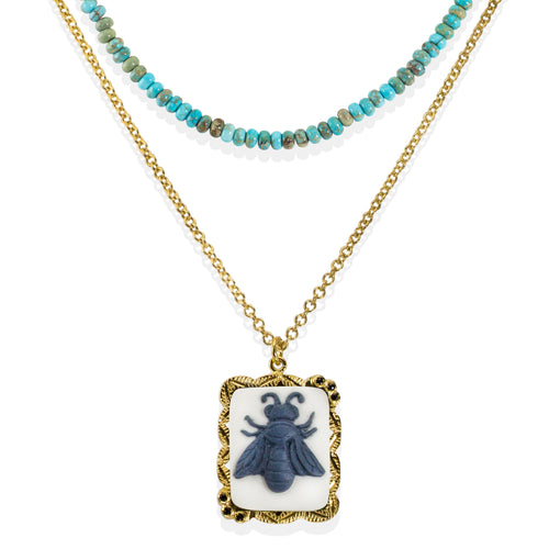 Bee Cameo & Turquoise Layered Necklace ,[product vendor],JewelStreet