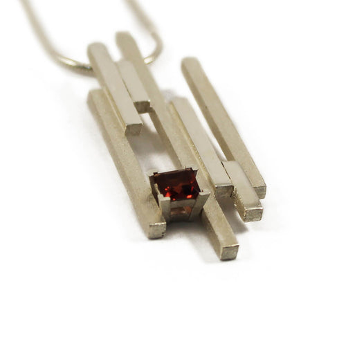 Silver SEVEN Necklace With Garnet ,[product vendor],JewelStreet