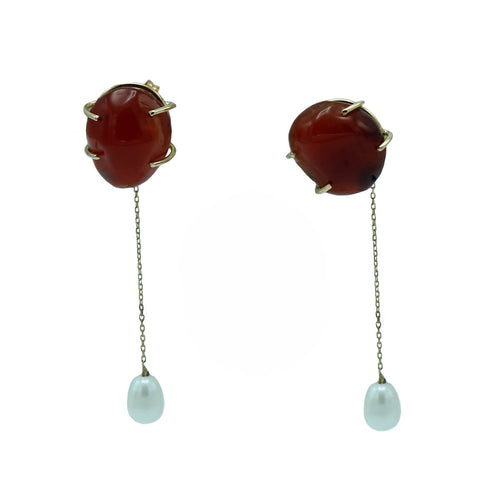 18kt Rose Gold Carnelian & Pearl Earrings ,[product vendor],JewelStreet