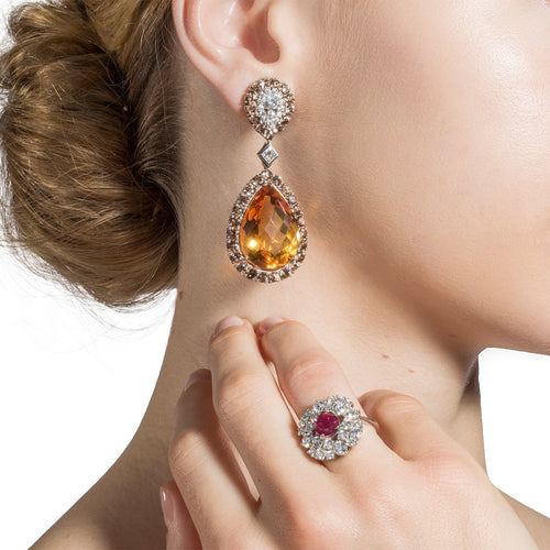 White Gold, Citrine & Diamond Haute Bijoux Drop Earring | Katherine LeGrand