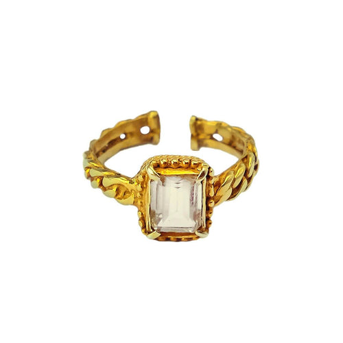 24kt Gold Plated Sterling Silver Citrine Stone Ring