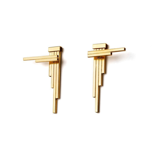 Gold Plated Silver Double Sided Concord Geometric Earrings ,[product vendor],JewelStreet