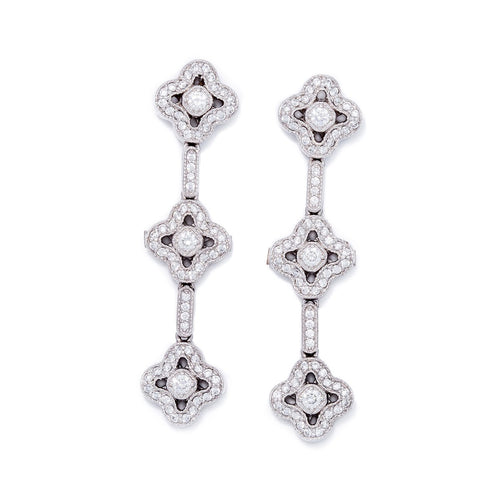 White Gold & Diamond Constantine Drop Earrings | Katherine LeGrand