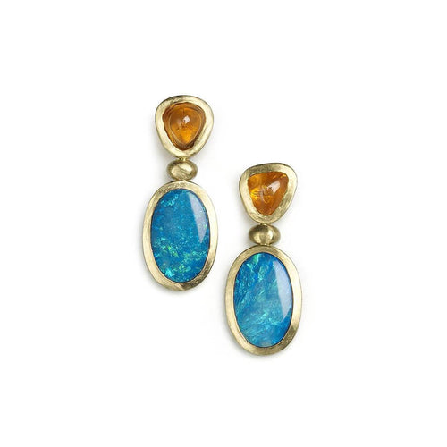 18kt Yellow Gold Spessartite & Opal Drop Earrings