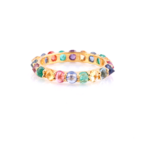 18kt Yellow Gold Multicolored Sapphire Round Rose-Cut Eternity Ring  ,[product vendor],JewelStreet