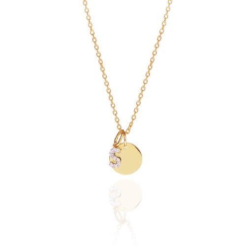 18kt Yellow Gold Vermeil Disc Charm Monogram Diamond Necklace