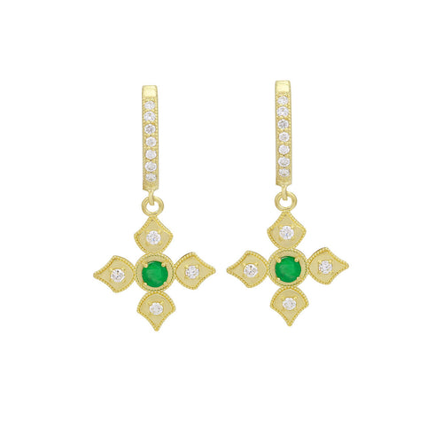18kt Yellow Gold Emerald & Diamond Dangle Earrings With Diamond Hoops ,[product vendor],JewelStreet