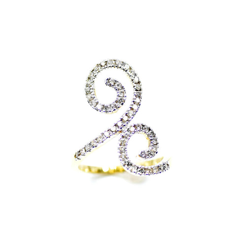 14kt Yellow Gold Double Spiral Diamond Statement Ring ,[product vendor],JewelStreet