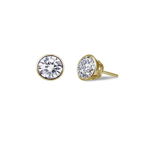 Lafonn Yellow Gold Plated Bezel-set Stud Earrings, 0.92cts
