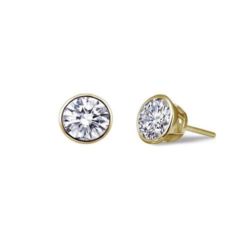 Lafonn Yellow Gold Plated Bezel-set Stud Earrings, 2.56cts