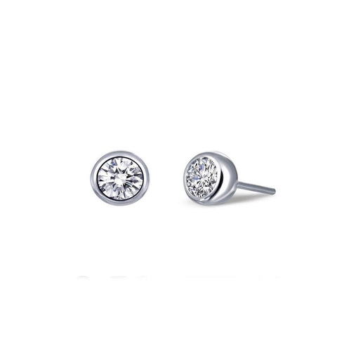 Lafonn Platinum Plated Bezel-set Stud Earrings, 0.50cts