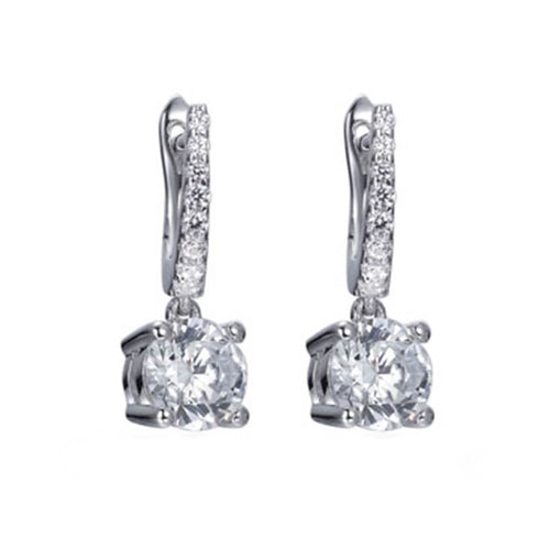Silver Lucy Solitaire Drop Earrings ,[product vendor],JewelStreet