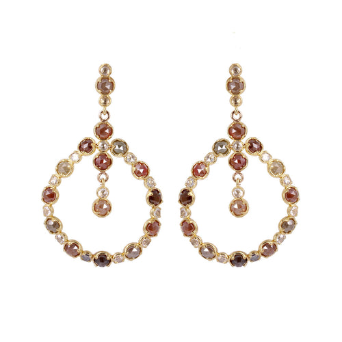 18kt Yellow Gold Natural Colour & White Rose-Cut Diamond Post Earrings ,[product vendor],JewelStreet